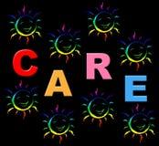 Los niños del cuidado indican ocuparse y referidos Imagen de archivo libre de regalías