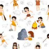 Los niños del hombre de las cavernas vector el carácter primitivo de los niños y al niño prehistórico con el arma empedrada en si stock de ilustración