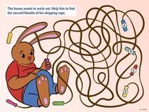 Los niños desconciertan para ayudar al conejito para desenredar su cuerda ilustración del vector