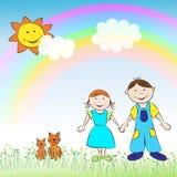 Los niños, el muchacho, la muchacha, los gatos y el arco iris Fotografía de archivo libre de regalías