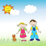 Los niños, el muchacho y la muchacha con el gato en el prado Imágenes de archivo libres de regalías