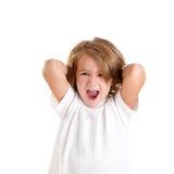 Los niños embroman la risa feliz con los brazos para arriba aislados Fotos de archivo libres de regalías