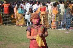 Los niños están gozando de Holi, el festival del color de la India Fotos de archivo