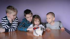 Los niños están jugando con el conejito de pascua