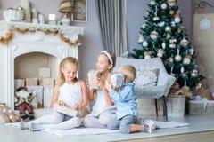 Los niños felices acercan al árbol de Navidad Fotos de archivo libres de regalías