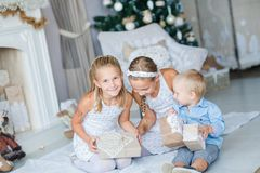 Los niños felices acercan al árbol de Navidad Imágenes de archivo libres de regalías