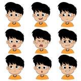 Los niños hacen la cara muchos de las emociones ilustración del vector