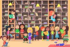 Los niños leyeron adentro el ejemplo del vector de la biblioteca libre illustration