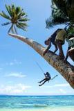 Los niños locales que balancean en una cuerda balancean en el pueblo de Lavena, Taveuni I Fotos de archivo