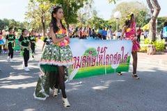 Los niños no identificados desfilan en el día de los deportes de la publicación anual, Tailandia fotos de archivo