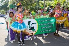 Los niños no identificados desfilan en el día de los deportes de la publicación anual, Tailandia imagen de archivo libre de regalías