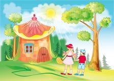 Los niños pasan a través del bosque fabuloso stock de ilustración