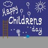 Los niños pintaron la pared de ladrillo blanca Ejemplo del vector en el tema del día de los niños primer de junio foto de archivo