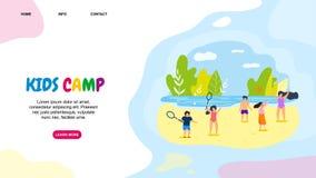 Los niños planos horizontales de la bandera acampan ocio activo ilustración del vector