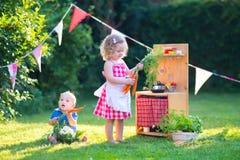 Los niños que juegan con una cocina del juguete en un verano cultivan un huerto Imagenes de archivo