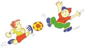 Los niños que juegan a fútbol en la calle, un muchacho golpean la bola con el pie a otro libre illustration