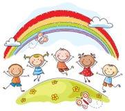Los niños que saltan con alegría por debajo un arco iris ilustración del vector