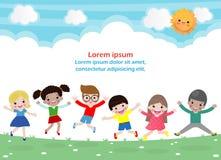 Los niños que saltan en el parque, niños saltan con la alegría, niño feliz que juega en el patio, plantilla aislada de la histori ilustración del vector