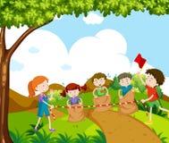 Los niños que saltan en la raza stock de ilustración