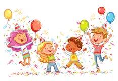 Los niños que saltan y que bailan en la fiesta de cumpleaños stock de ilustración