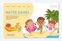 Los niños riegan la plantilla de aterrizaje de la página del vector de los juegos Caracteres felices de los niños del verano ilustración del vector