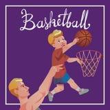 Los niños se divierten con los padres - ejemplo del baloncesto con caligrafía Fotografía de archivo libre de regalías