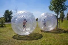Los niños se divierten en la bola de Zorbing Fotos de archivo
