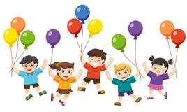 Los niños son de salto y que sostienen de los globos ilustración del vector