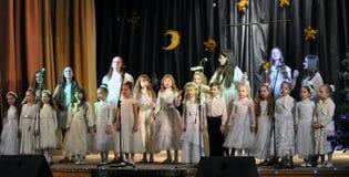 Los niños ucranianos celebran el _6 de St_ Nicholas Day Fotografía de archivo libre de regalías