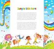 Los niños van de fiesta para el diseño de la página web ilustración del vector