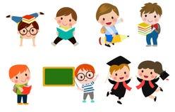 Los niños van a la escuela, de nuevo a escuela, los niños lindos de la historieta, niños felices, ejemplo del vector stock de ilustración