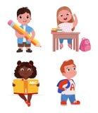 Los niños van a la escuela La muchacha está estudiando en la lección Un muchacho con un libro y un lápiz ilustración del vector