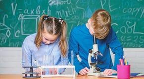 Los ni?os estudian qu?mica Lecci?n de la qu?mica de la escuela Laboratorio de la escuela Educaci?n escolar Muchacha y muchacho co fotos de archivo libres de regalías