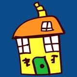 Los ni?os pintaron casas en estilo del garabato libre illustration