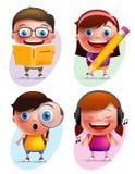 Los niños divertidos vector el libro y la escritura de lectura colorido de la colección de los caracteres Imagen de archivo