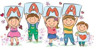 Los niños escriben a la mamá de la palabra Imagen de archivo