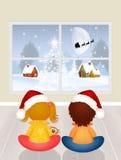 Los niños están esperando a Santa Claus Fotografía de archivo