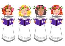 Los niños leyeron el ejemplo de la Sagrada Biblia Imagenes de archivo