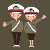 Los niños muchacho y el poli de la policía de la muchacha que lleva uniforman a los niños que sueñan su empleo de la profesión Foto de archivo libre de regalías
