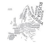 Los nombres del estado de Europa trazan stock de ilustración