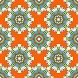Los objetos coloreados hermosos en modelo inconsútil del fondo anaranjado abstracto vector el ejemplo Fotos de archivo