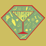 Los objetos de cristal de la taza de la coctelera del símbolo del emblema del equipo de la barra fijaron el corkscr Fotos de archivo