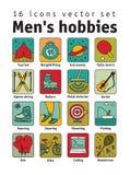 Los objetos de los hombres de las aficiones se divierten el sistema de los iconos del color de la codificación del turismo libre illustration