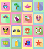 Los objetos para la reconstrucción los iconos planos de una playa vector el ejemplo Fotografía de archivo libre de regalías