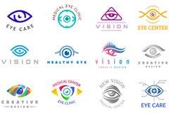 Los ojos del icono del globo del ojo del vector del logotipo del ojo miran la visión y el logotipo de las pestañas de la supervis Fotos de archivo libres de regalías