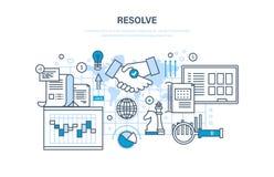 Los, oplossing van kwesties, strategische planning, beheer, controle, samenwerking, groepswerk op vector illustratie