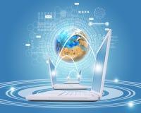 Los ordenadores portátiles blancos están conectados con la red Tierra y Foto de archivo