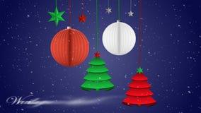 Los ornamentos de la Navidad de la papiroflexia son equilibrados en un cielo nocturno nevoso metrajes