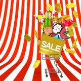 Los ornamentos y el carro de la compra de Front View Of New Year en espacio del texto del modelo rayado libre illustration