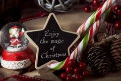 Los ornamentos y el texto disfrutan de la magia de la Navidad imagen de archivo